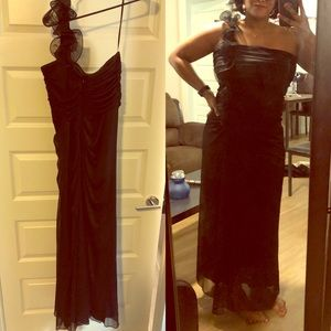 Betsy & Adam Black formal gown One sleeve sz 12